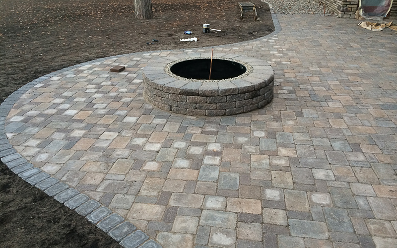 custom patio and firepit